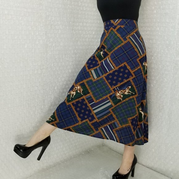 VTG 90s Koret City Blues Petites hound midi skirt